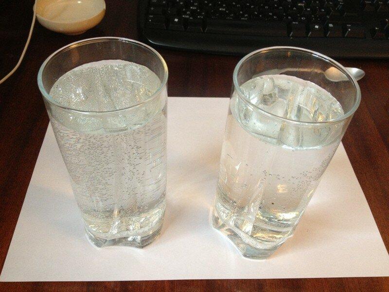 Взять два стакана воды