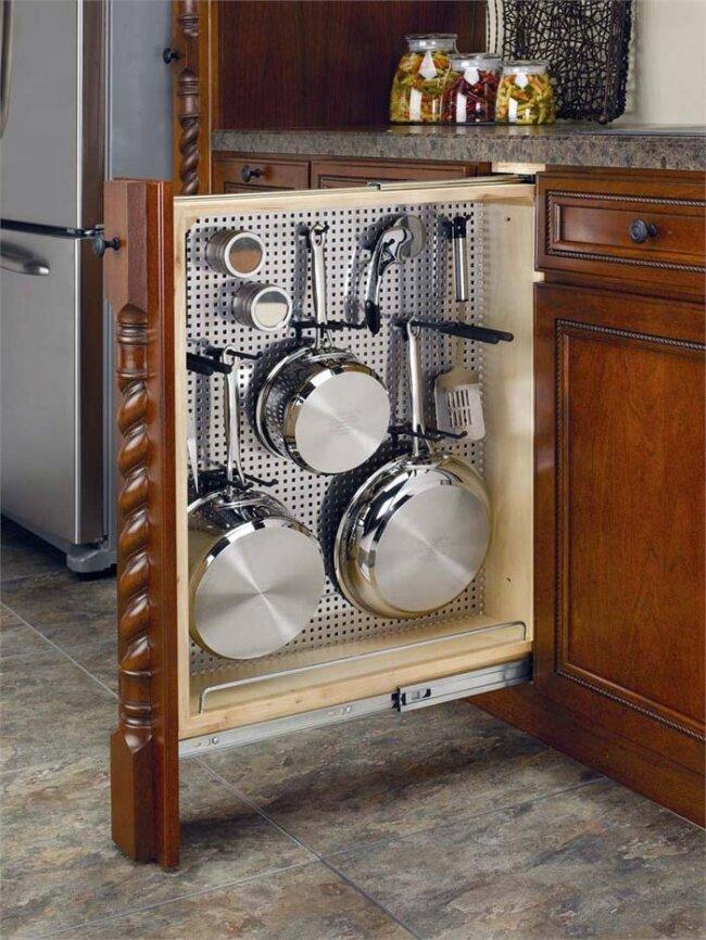 Выдвижной шкаф для кухонной утвари
